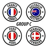 Football World Championship Group C. Soccer World Tournament 2018 in Russia. Vector flag Collection Royalty Free Stock Photo