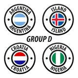 Football World Championship Group D. Soccer World Tournament 2018 in Russia. Vector flag Collection Royalty Free Stock Image