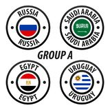 Football World Championship Group A. Soccer World Tournament 2018 in Russia. Vector flag Collection. Esp10 Vector Royalty Free Stock Photos