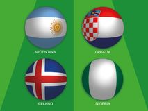Football World championship group D - with Argentina, Croatia, Iceland and Nigeria. Banner design background soccer vector illustration