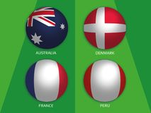 Football World championship group C - with Australia, Denmark, France and Peru. Banner design background soccer royalty free illustration