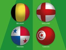 Football World championship group G - with Belgium, England, Panama and Tunesia. Banner design background soccer royalty free illustration