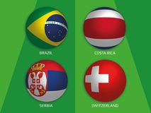 Football World championship group E - with Brazil, Costa Rica, Serbia and Switzerland. Banner design background soccer stock illustration