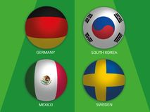 Football World championship group F - with Germany, South Korea, Mexico and Sweden. Banner design background soccer stock illustration