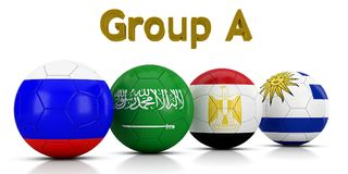 Football World championship groups 2018 - Group A represented by classic soccer balls painted with the flags of the countries. Group A represented by classic Stock Photography