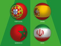 Football World championship group B - with Portugal, Spain, Morocco and Iran. Banner design background soccer vector illustration