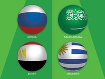 Football World championship group A - Russia, Saudi Arabia, Egypt and Uruguay. Banner Design background soccer royalty free illustration