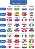 Football World championship groups. Vector country flags. Russia football championship 2018, Vector country flags. 2018 soccer world tournament in Russia Stock Images