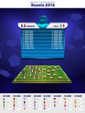 Football World championship groups. Vector country flags. 2018 soccer world tournament in Russia. Royalty Free Stock Images