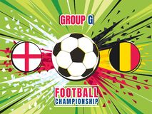 Football world championship match template. England vs Belgium. Group G. Color vector illustration Stock Photography