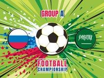 Football world championship match template. Russia vs Saudi Arabia. Group A. Color vector illustration Stock Image