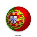 Football World championship with Portugal flag made round as soccer ball - drop shadow and isolated on white. Background royalty free illustration