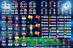 Football World Championship Schedule. Football World championship groups. Set of four different flag illustration. Vector flag collection. 2018 soccer world Stock Image