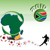 Football world cup. Colorful illustration with the shape of the African continent and a football player kicking football balls. World cup concept Royalty Free Stock Photo