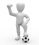Football World Cup. 3D image, a character with soccer ball on white background Royalty Free Stock Photography