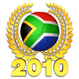 Football world cup 2010. Soccer ball designed in the national colours of South Africa in the middle of a golden laurel wreath at a white background Stock Image