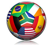 Football world cup 2010 ball. With different nation flags vector illustration