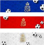 Football world cup banners with balls in russian flag colors. Three football world cup 2018 banners in russian flag colors with soccer balls and symbolic stock illustration