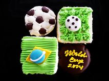 Football World Cup Brazil Cake and Chocolate Cake Stock Images