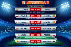 Russia World Cup Group H. Football world cup championship groups. Set of four different flag illustration. Vector flag collection. 2018 soccer world tournament Royalty Free Stock Image