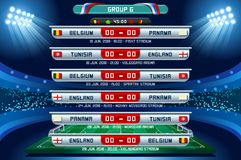 Russia World Cup Group G. Football world cup championship groups. Set of four different flag illustration. Vector flag collection. 2018 soccer world tournament Royalty Free Stock Photos