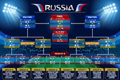Russia World Cup Schedule Chart. Football world cup championship groups. Set of four different flag illustration. Vector flag collection. 2018 soccer world Royalty Free Stock Images