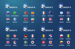 Football world cup championship teams and groups. Vector background royalty free illustration