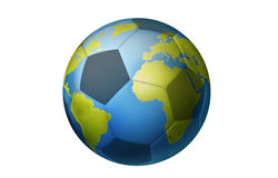 Football world cup concept. Soccer ball made from earth globe Royalty Free Stock Image