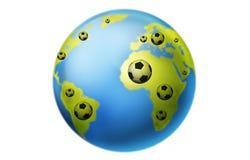 Football world cup concept. Soccer balls around the globe Stock Photos