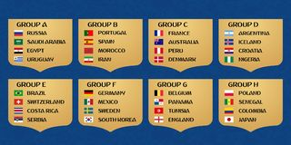 Football World cup groups. Vector flag collection Royalty Free Stock Photo