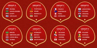 Football World cup groups. Vector flag collection Stock Photo