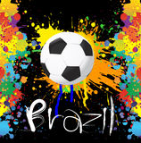 Football World cup with paint splash color. On black background Royalty Free Stock Photography