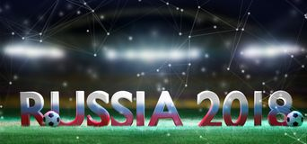 Football world cup 2018 in Russia - 3d rendering. View of a 3d rendering Football world cup 2018 in Russia Stock Photos