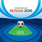 Football world cup russia 2018 poster. Creative football stadium with big ball on ground poster Stock Image