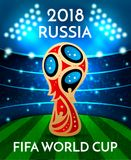 Football world cup. Varna, Bulgaria, 04 march 2018. Symbol of FIFA Football World cupin Russia,vector illustration.Soccer trophy on stadium background with sport Stock Photography