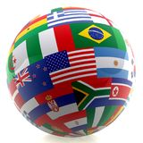 Football with world flags Royalty Free Stock Photos