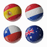 Football WorldCup 2014. Group B. Football/soccer balls. Set of 3d soccer balls with flags Stock Images