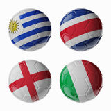 Football WorldCup 2014. Group D. Football/soccer balls. Set of 3d soccer balls with flags Royalty Free Stock Photos
