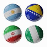 Football WorldCup 2014. Group F. Football/soccer balls. Set of 3d soccer balls with flags Royalty Free Stock Image