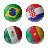 Football WorldCup 2014. Group A. Football/soccer balls. Set of 3d soccer balls with flags Stock Image