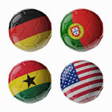 Football WorldCup 2014. Group G. Football/soccer balls. Set of 3d soccer balls with flags Royalty Free Stock Photos