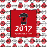 Football 2017 year. Football hand drawn pattern. With Albania country flag and t-shirt. 2017 Football Year Stock Photography