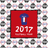 Football 2017 year. Football hand drawn pattern. With France country flag and t-shirt. 2017 Football Year Stock Image