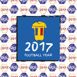 Football 2017 year. Football hand drawn pattern. With Romania country flag and t-shirt. 2017 Football Year Royalty Free Stock Image
