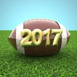Football for year 2017 over grass. 3d rendering Stock Images