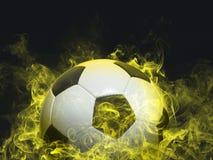 Football - yellow smoke effect royalty free stock photos