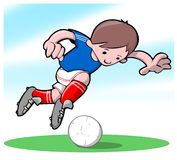 Footballer. A boy playing with his football Royalty Free Stock Photography