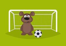 footballer Björnmålvakt Björn som spelar fotboll djur stock illustrationer