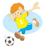 Footballer boy. In the yellow T-shirts with number 1 Stock Illustration
