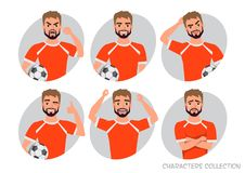 Footballer character constructor. Soccer player different postures, emotions set. Football character. Soccer player different postures, emotions set Stock Image